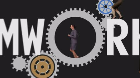 partnerstwo : Digital animation of Business people running and turning cogs