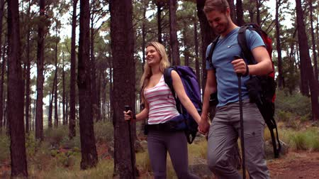 hiking : Couple hiking through a forest in slow motion