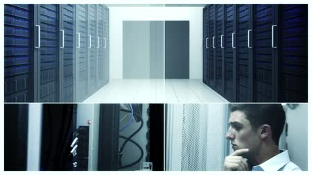 merkez : Digital montage of Data center concept with workers