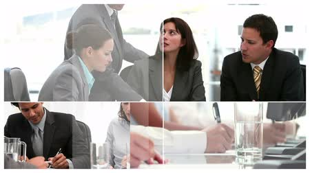 Digital montage of Business people at work