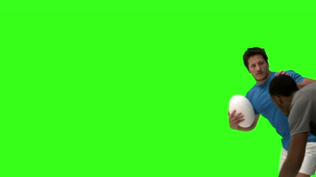 oposição : Rugby players tackling in slow motion on green screen background Vídeos
