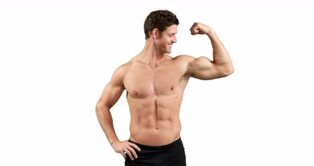 бицепс : Muscular man flexing his muscles on white background