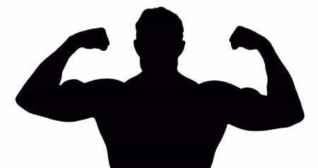 fisiculturismo : Muscular silhouette of man flexing muscles on white background Stock Footage
