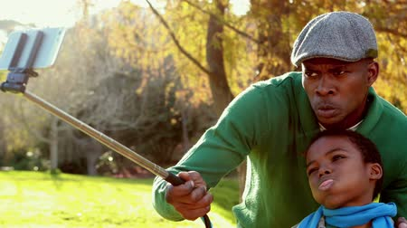 autumns : Happy father and son in the country on autumns day in high quality Stock Footage