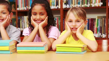 könyvtár : Pupils smiling at camera in library in high quality