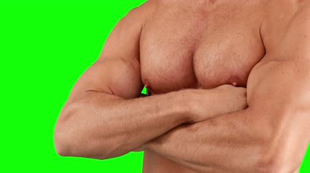 půvabný : Muscular man with arms crossed  against green background