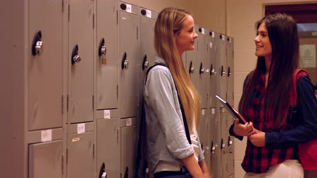 aluno : Two happy students chatting to each other in a hallway Stock Footage