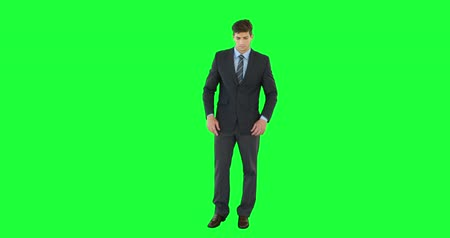 krawat : Businessman pointing at screen on green background Wideo