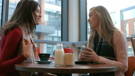 coffee time : Pretty friends enjoying coffee in cafe in high quality format