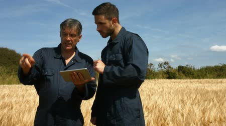 rolnik : Farmers checking crops using tablet in high quality format