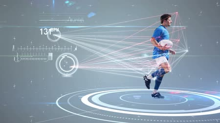 хайтек : Digital animation of Futuristic technology tracking athletes movements