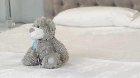 pillow block : Grey teddy bear on the bed at home Stock Footage