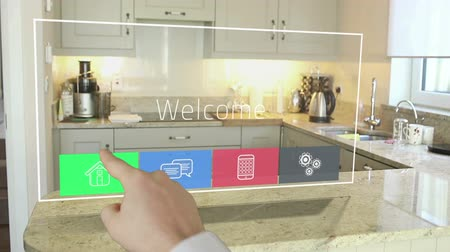 home life : Mans hand using futuristic technology interface in kitchen Stock Footage