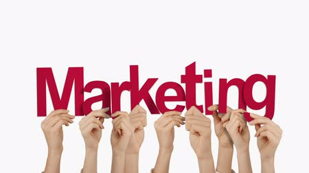 marketing : Hands holding up marketing on white background Stock Footage