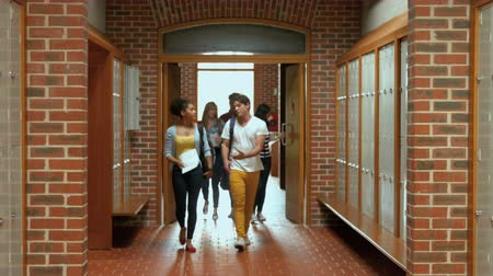 educar : Students walking down hallway to locker in college Stock Footage