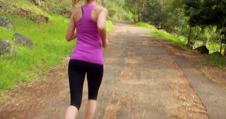 parque : Woman jogging in the forest in the countryside Vídeos