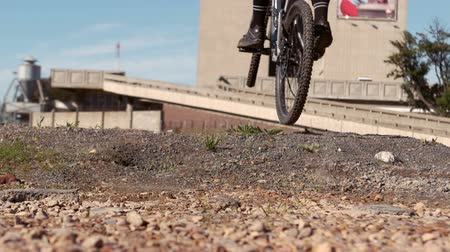 highspeed : Active man riding dirt bike slow motion Stock Footage