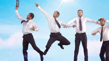 highspeed : Series of jumping businessman in slow motion on blue sky background