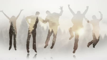 highspeed : Series of jumping business people in slow motion against forest