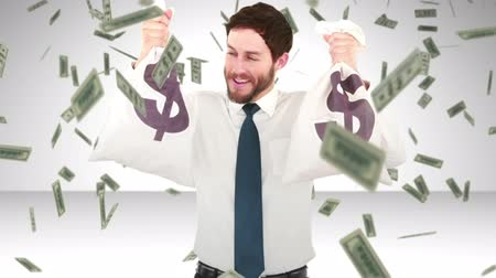 финансы : Composite video of happy businessman holding money bags Стоковые видеозаписи