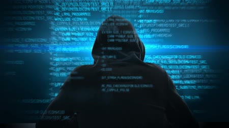 хакер : Composite video of hacker using laptop with data on background