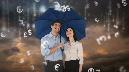 devise : Composite image of businessman and businesswoman holding an umbrella against grey background Stock Footage