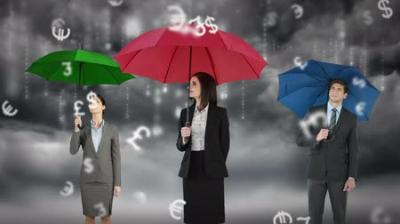 devise : Composite image of businessman and businesswoman holding an umbrella against storm