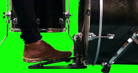 davulcu : Close up of drummer foot on green screen