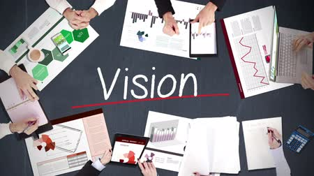 látomás : Business people hands working with vision in middle Stock mozgókép