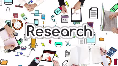 reseach : Business people hands working with research in middle Stock Footage