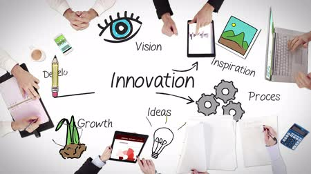 innováció : Business people hands working with innovation in middle