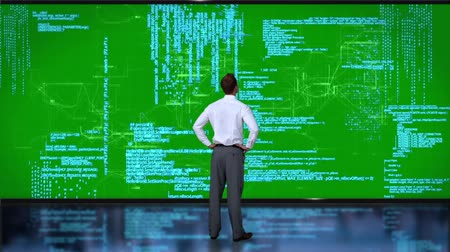 kodlama : Rear view of businessman coding on green interface Stok Video