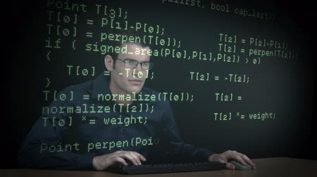 хакер : Hacker download data on computer with matrix Стоковые видеозаписи