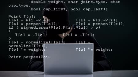 хакер : Focused burglar hacking into laptop