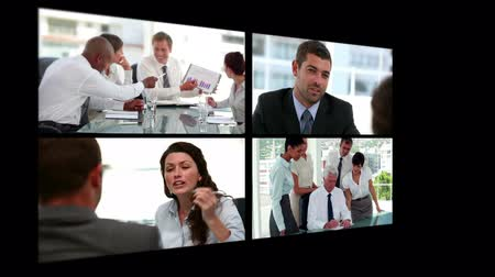 kolaj : Collage of business people using technologies