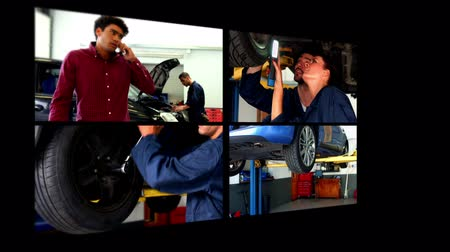 mechanika : Collage of car mechanic in a garage