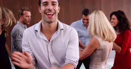 festa : Group of friends dancing in slow motion Stock Footage