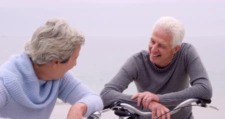 emekli : Retired couple laughing with bikes on the beach Stok Video