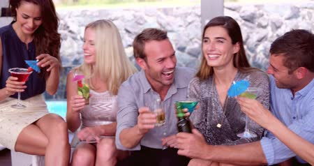 a party : Friends having a drink at a party Stock Footage