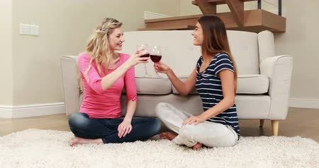szőnyeg : Happy friends drinking red wine while sitting on the carpet Stock mozgókép