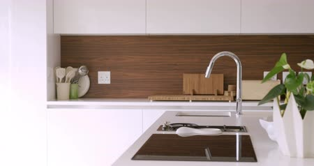 mutfak : View of modern kitchen interior Stok Video