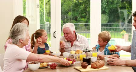 senior lifestyle : Happy family having breakfast together at home
