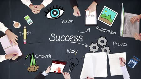 success : Business people hands working with success in middle