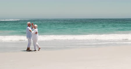 emekli : Old retired couple dancing together on the beach Stok Video