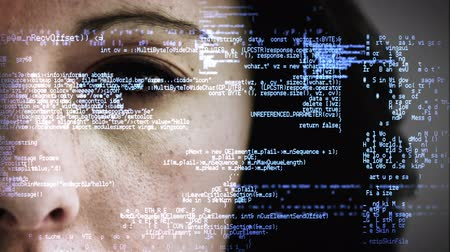 komoly : Close up view of a businesswoman watching matrix