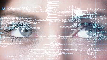matris : Close up view of a businesswoman watching matrix