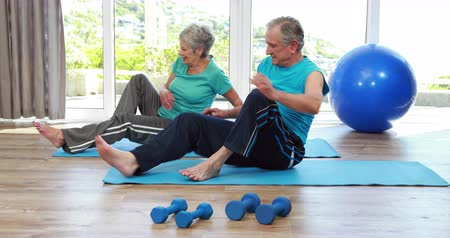 trabalhar fora : Senior couple doing stretching together Vídeos