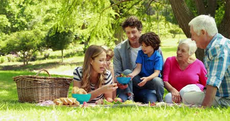 parque : Happy family having a picnic in park