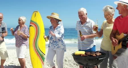 strand : Senior friends having a barbecue on the beach Stock mozgókép