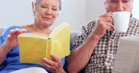 senior lifestyle : Cute elderly couple reading sitting on sofa